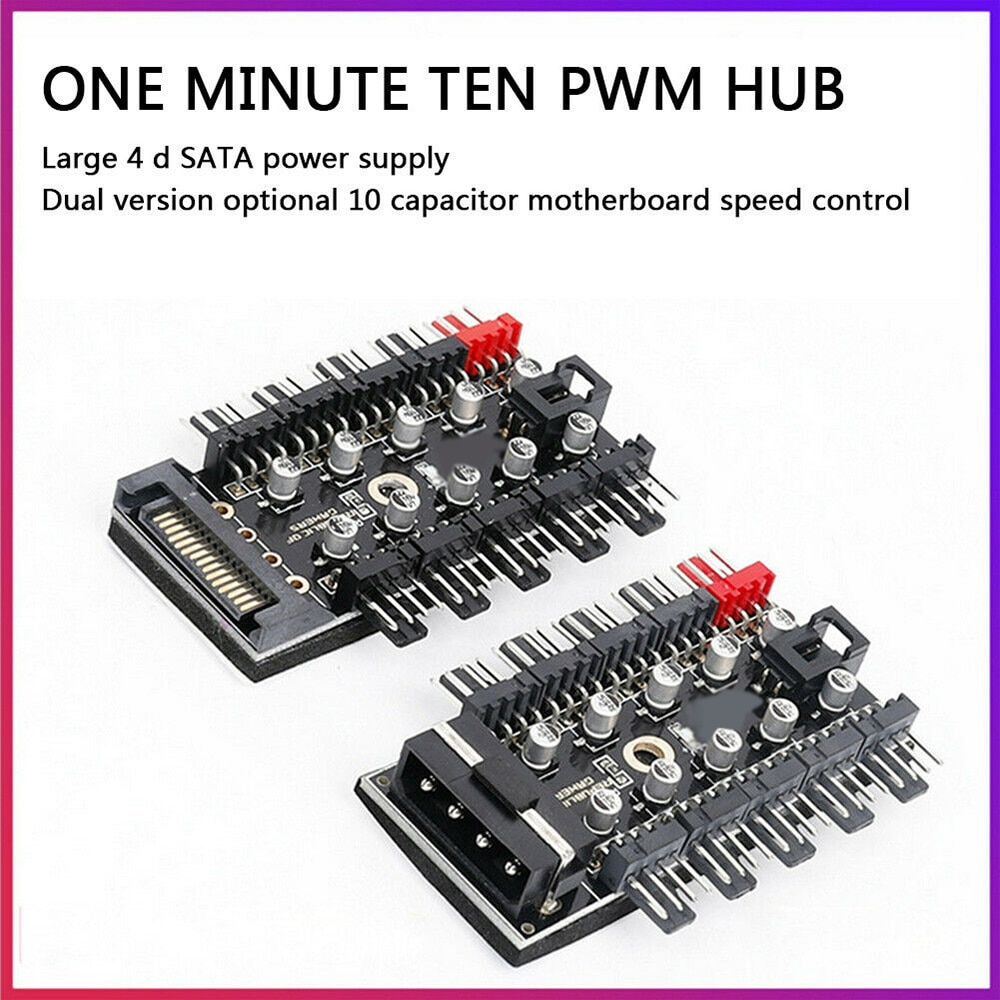 Motherboard 1 to 10pin fan 4 Pin PWM Cooler Fan HUB Splitter Extension 12V Power Supply Socket PC Speed Controller Adapter
