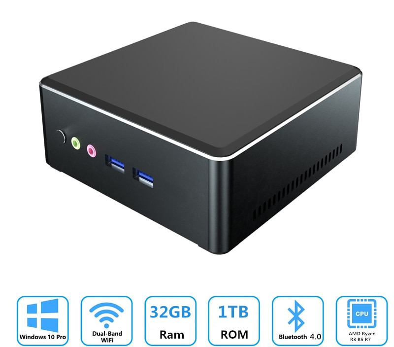 AKPAD MN22 MN27 MN35 AMD Ryzen R3 R5 R7 mini pc con Vega 8 Vega 10 gráfico 4K UHD DP HDMI juegos de escritorio computadora M.2 Nvme ssd