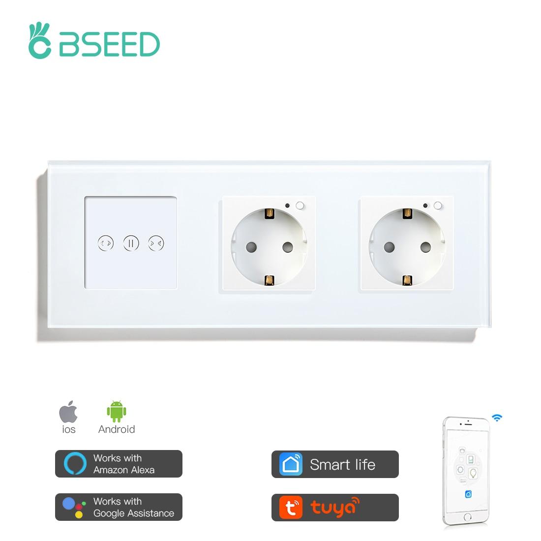 Bseed-ستارة ذكية مع تحكم صوتي ومقبس أوروبي مزدوج ، للستائر الذكية ، من أجل Tuya ، الحياة الذكية ، تحسين المنزل