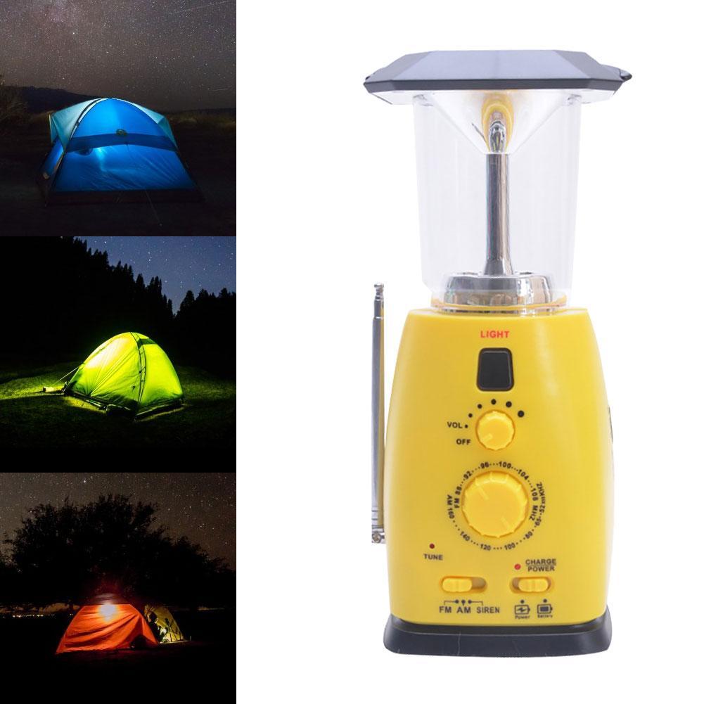 Exterior Solar manivela FM Radio emergencia Camping LED linterna teléfono cargador nuevo Chic