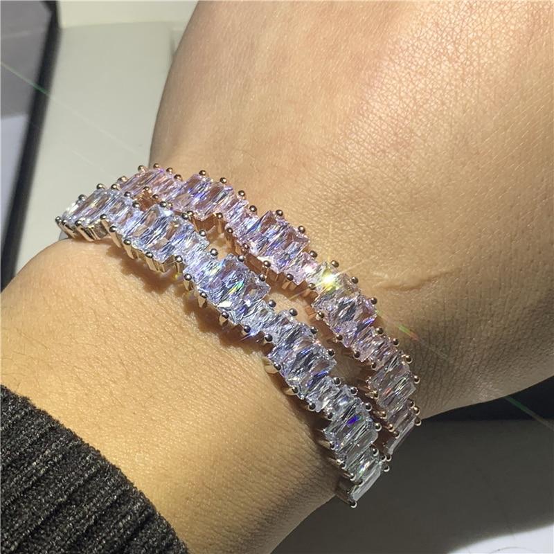 Artesanal de luxo jóias 925 prata esterlina princesa corte branco aaaaa zircão cúbico irregularidade feminino pulso pulseira casamento presente
