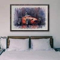 Peinture classique de voiture de course T013  86  affiche en soie personnalisee  decoration murale  cadeau de noel