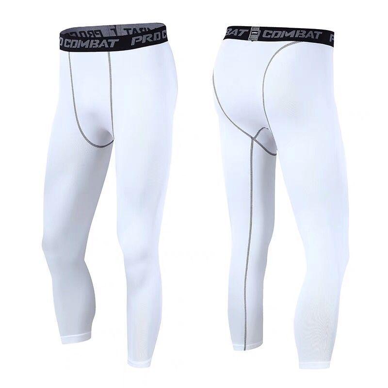 Pantalones cortos de baloncesto para hombre, deportivos, Fitness, 3/4 de longitud, de secado rápido, mallas profesionales, pantalones de entrenamiento de compresión para correr, personalizados