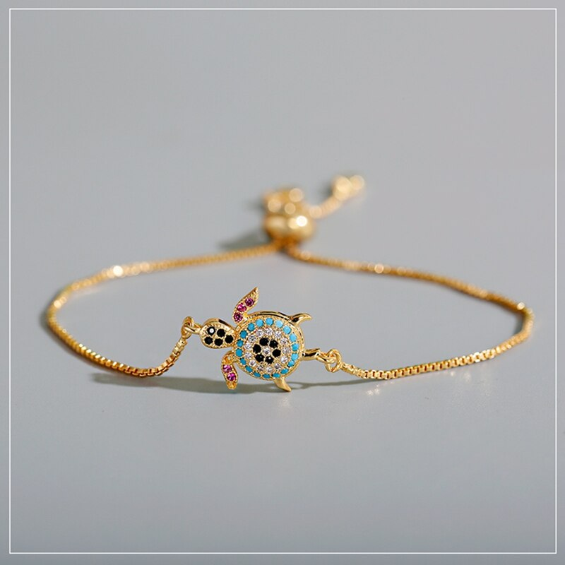 2020 mulheres cz zircon mar tartaruga pulseiras & pulseiras quente moda ouro arco-íris ajustável corrente pulseira femme jóias acessório