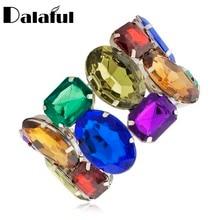 Dalaful Multicolor Kristall Armbänder & Armreifen Strass Hochzeit Braut Armband Stretch-Armband Trendy Frauen Geschenk S032