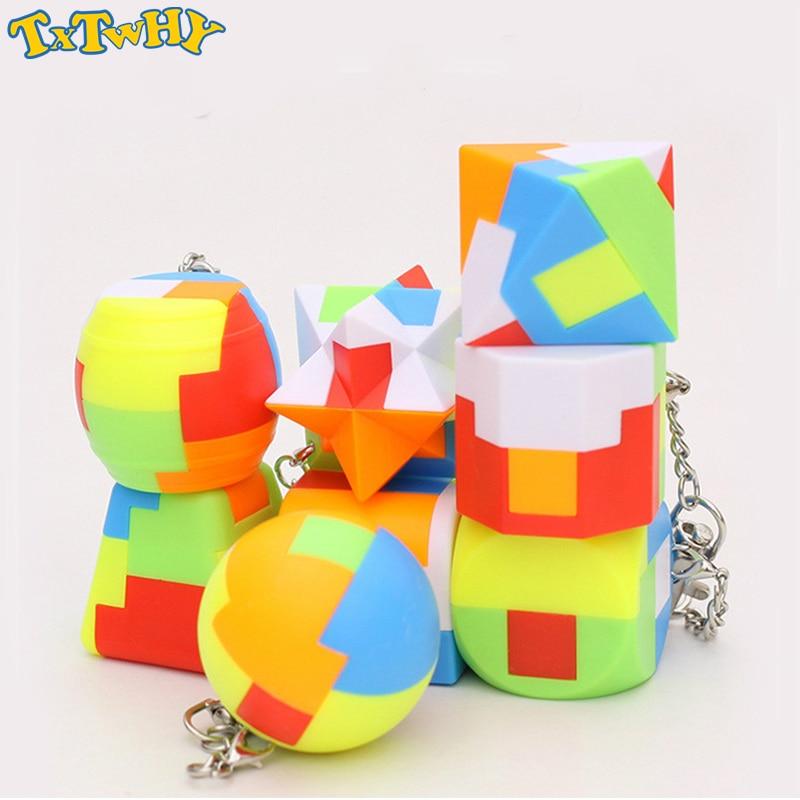 Мини-брелок магический куб тригемон цилиндрический скоростной куб головоломка Neo Cubo Magico Обучающие Развивающие игрушки для детей мальчиков