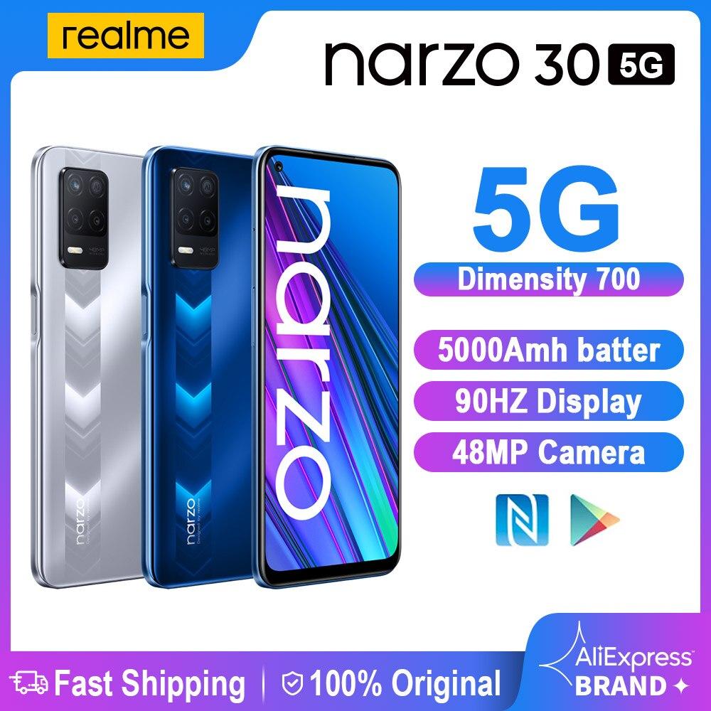 Перейти на Алиэкспресс и купить Realme Narzo 30 5G смартфон 4 Гб 128 Dimensity 700 5G 6,5 ''90 Гц Дисплей 48MP тройной Камера 5000 мА/ч, глобальная версия, мобильный телефон
