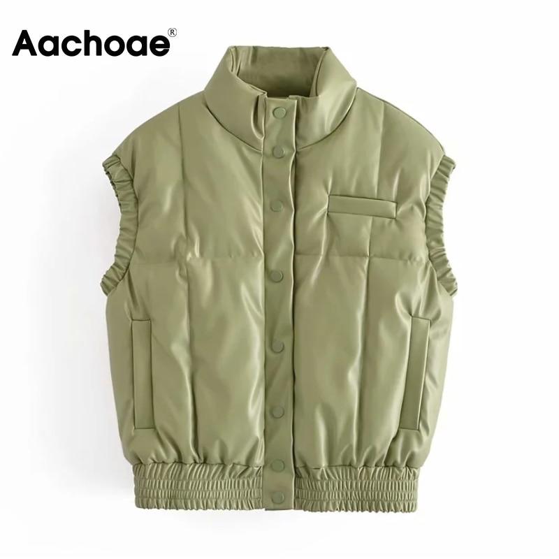 Aachaoe النساء بولي PU فو الجلود زر حتى سترة معطف بلا أكمام سترة غير رسمية صدرية الإناث اللون الأخضر الشتاء الدافئة قميص