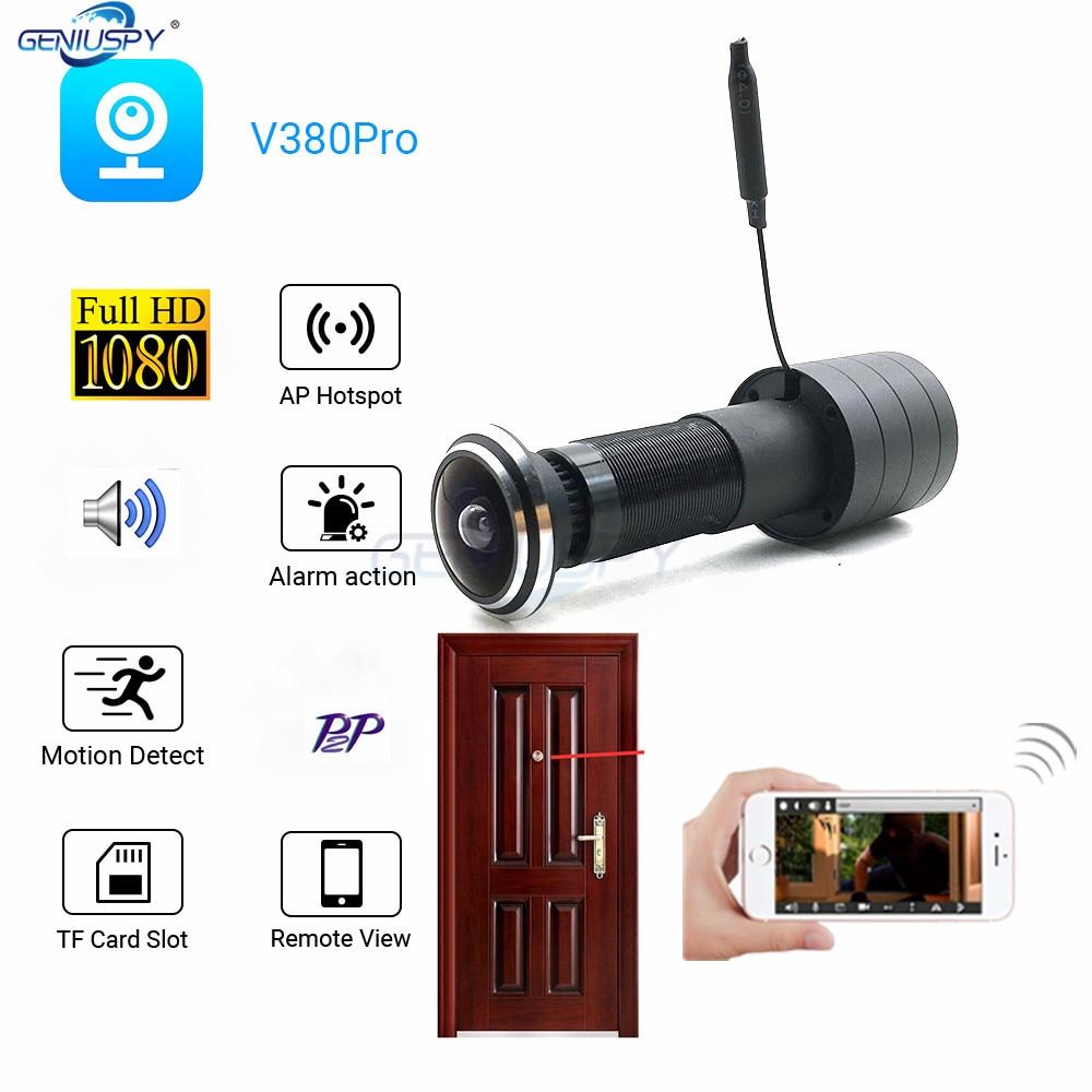 V380 Video Audio 1080P HD H.264 P2P 1.78mm FishEye Lens CCTV Security Peephole Door Eye Wifi Door Peephole Camera TF Card Slot