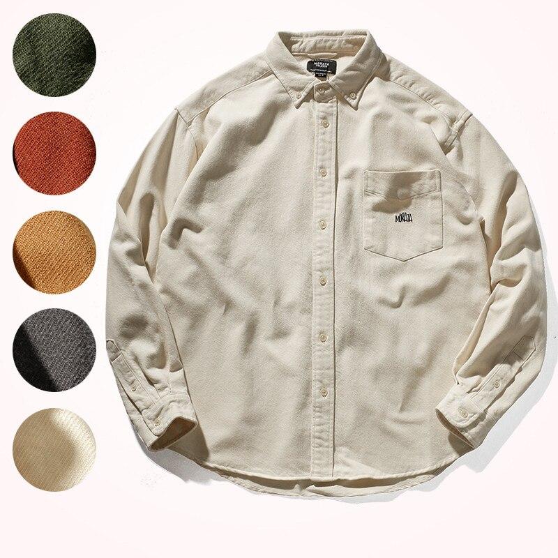 2020 قميص فضفاض الرجال النمط الياباني الخريف الشتاء سميكة الوزن الثقيل الرجعية جيب التلبيب ملابس العمل طويلة الأكمام قميص معطف