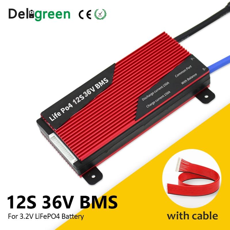Deligreen 12S 100A 150A 200A 43,8 V BMS для Li-FePO4 18650 Аккумулятор для скутера литиевая батарея
