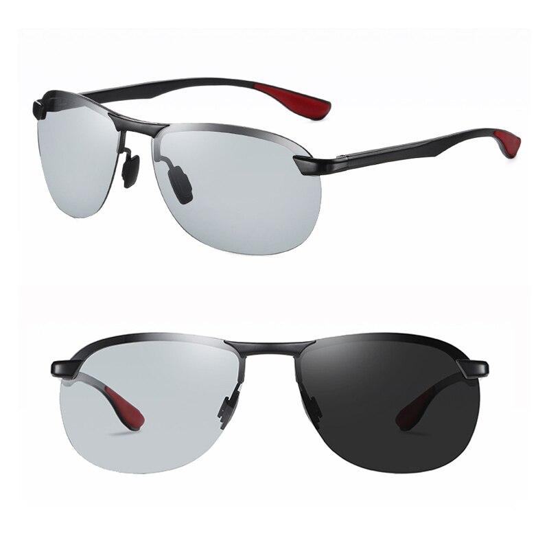 Gafas de sol polarizadas de aluminio discolor gris oscuro con forma de piloto, gafas de sol frescas de tamaño medio, gafas de sol de visión nocturna flexi para hombres