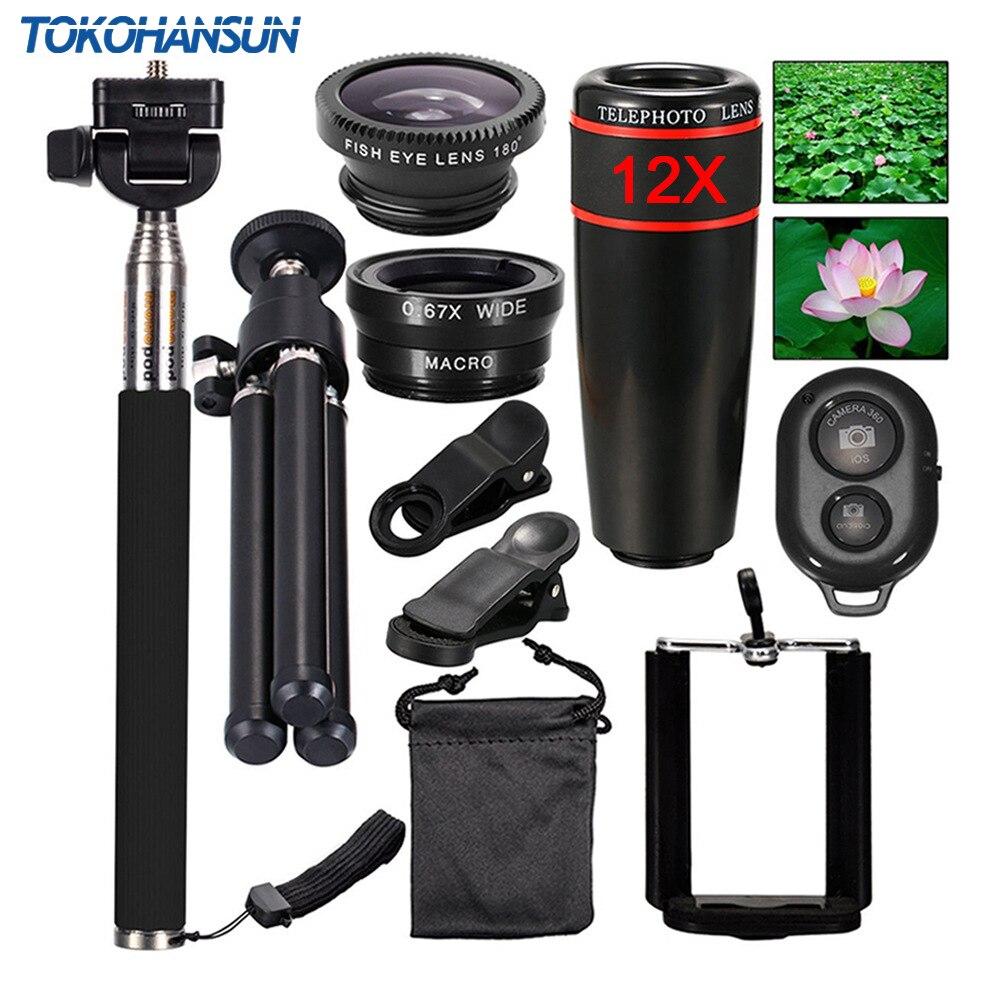 TOKOHANSUN 10 في 1 كاميرا الهاتف العالمي 12X عدسة التكبير للهواتف الذكية المقربة عدسة زاوية واسعة فيش ماكرو ترايبود آيفون