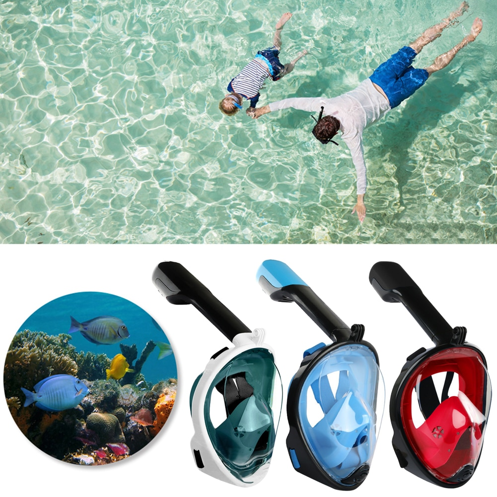 Full Face Scuba Snorkeling Face Mask Underwater Diving Respirator Goggles Snorkeling Set Respiratory Masks Safe and Waterproof