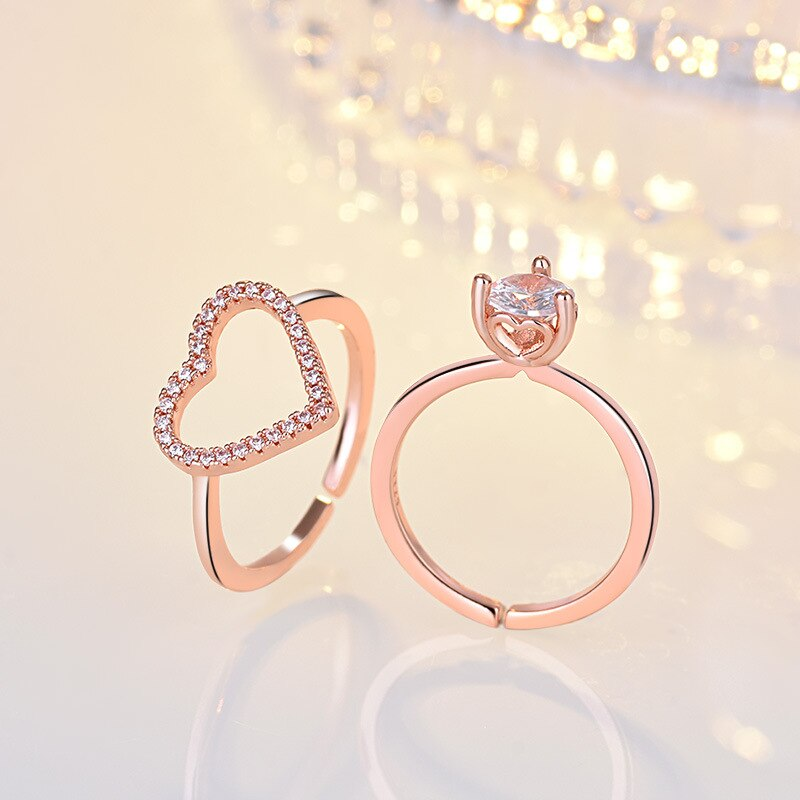 2 en 1 anillos de moda con forma de corazón de amor para mujeres AA CZ anillo de dedo de cristal de pareja boda fiesta Anel regalos de joyería