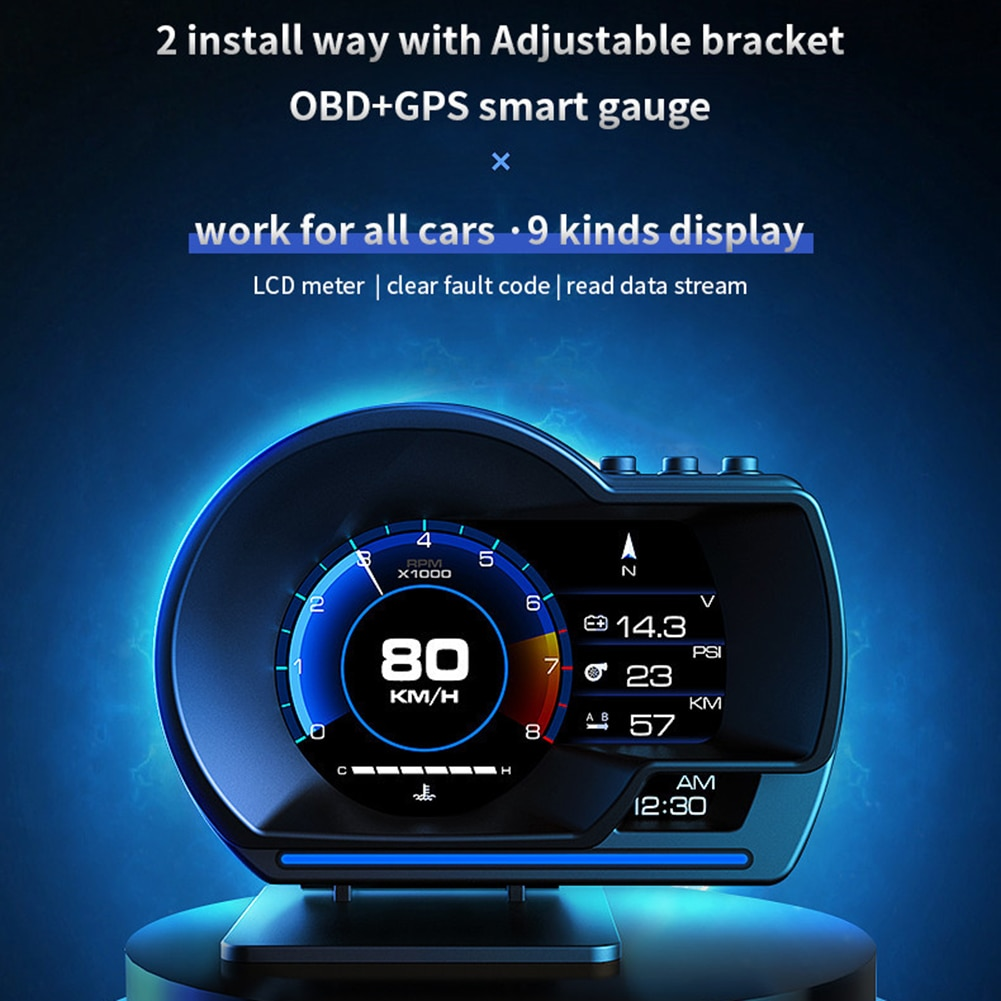 AP-6 OBD GPS Smart HUD Car Head Up Display Alarm Ambient Light with Navigation Car Accessories Water