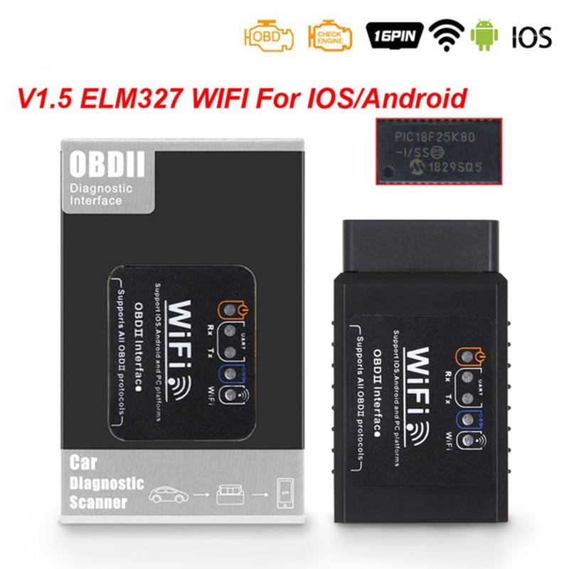 For iOS Android ELM327 V1.5 WIFI OBD2 Scanner ELM327  V1.5 wifi OBD 2 OBD2 Car Auto Diagnostic Tool WI-FI ODB2 OBDII Code Reader wifi obdii scan tool elm327 for ios