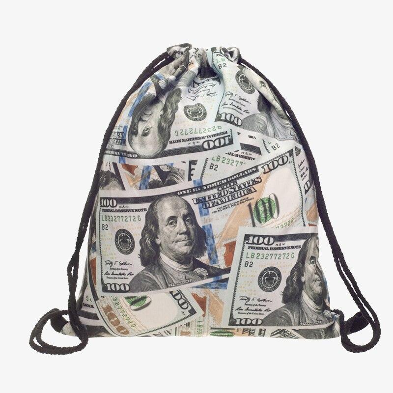 Bolsa de Cordão Cuerda para Fora da Porta Mochila de Cordão dos Homens para Mulheres Bolsa de Corda Novo Impresso Dólares Prata Moda Mochila Modis Menina 3d