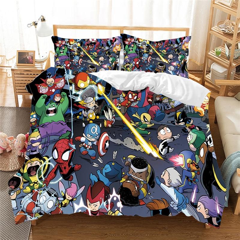 طقم أغطية سرير بتصميم كرتوني ثلاثي الأبعاد The Avengers ، غطاء لحاف Marvel ، Iron Man ، Thor ، Captain America ، Queen ، الحجم كينغ (بدون ملاءة)