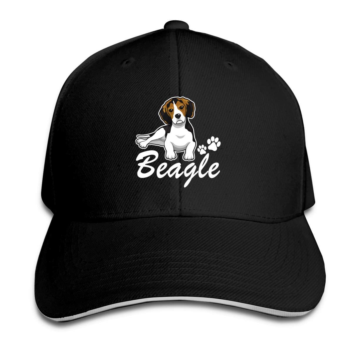 Happy Beagle, gorros de béisbol para hombres, gorros de papá tipo sándwich con visera ajustable, negro