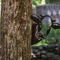 2021 hot art hanging metal peeking cow ornaments outdoor home adornment decor garden j2s1