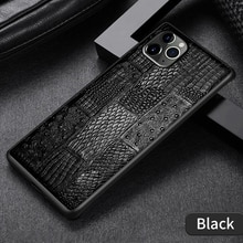 For Iphone 11 12 13 Pro Max Back Cover 7 8 Plus X Xs Xr 12 Mini  Crocodile Tail Texture Genuine Leat