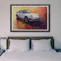 Peinture classique de voiture de course retro T034  15 voitures blanches personnalisees  affiche en soie  decoration murale  cadeau de noel
