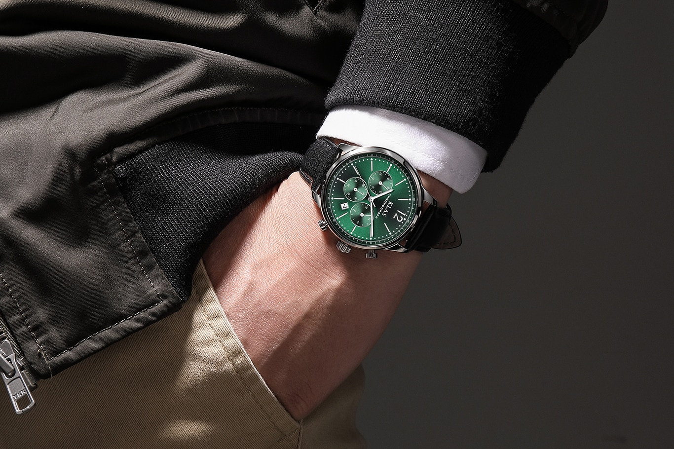 Couro à Prova de Umidade para Homem Relógios Klas