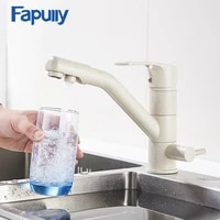 fapully kitchen faucet brass sink mixer khaki color drink water tap 360 degree rotation drinking water filter faucet 623 33ym