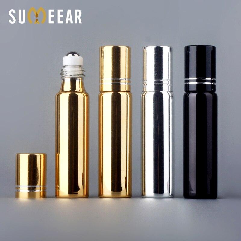 100 قطعة/الوحدة 10 مللي زجاجات الصلب الأسطوانة الضروري النفط زجاجات إعادة الملء UV الزجاج زجاجة عطر مع الضروري النفط قارورة السفر