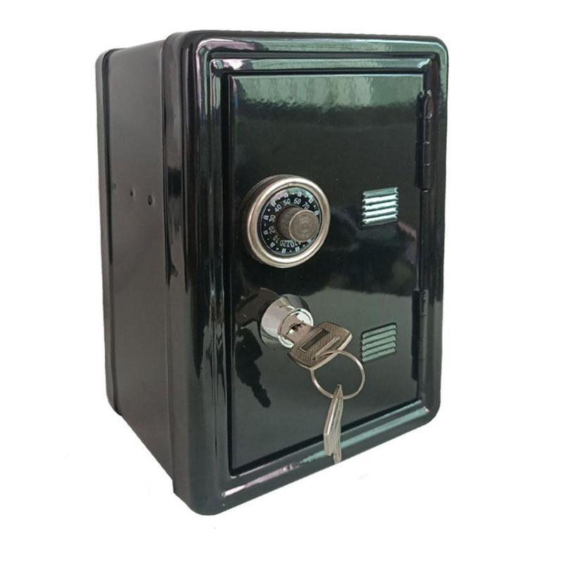 Mini safe metal money box creative piggy bank key safe decoration