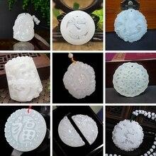 3A piedra Natural genuina hecha a mano Jadee blanco tallado dragón COLLAR COLGANTE Fénix moda tallado colgante joyería