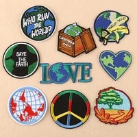 10pcslot round embroidery patches letters clothing decoration accessories planet love heart diy iron heat transfer applique