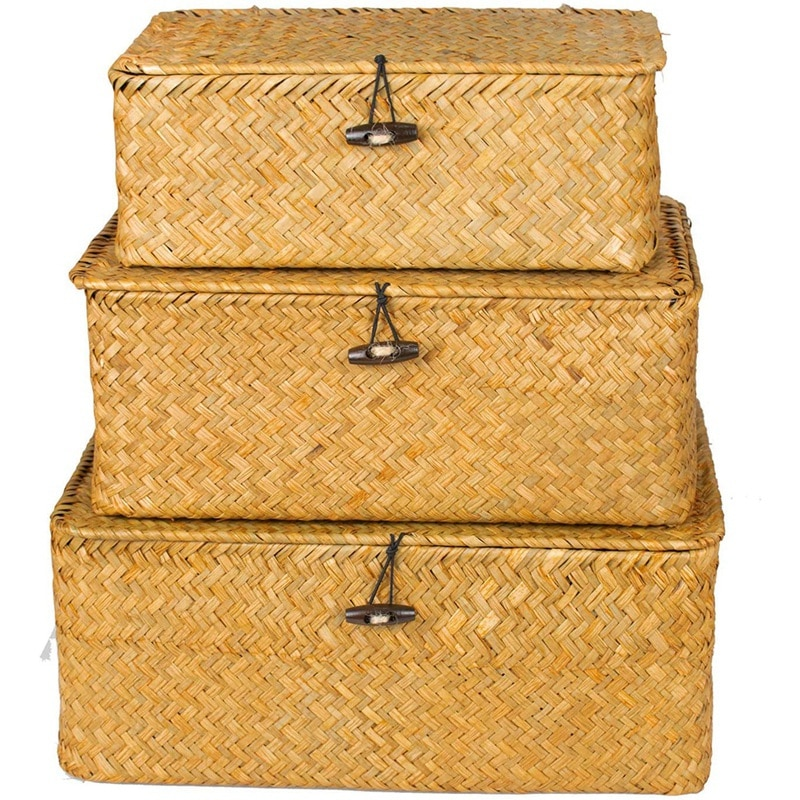 LBER-سلة تخزين خوص مستطيلة الشكل مع غطاء ، سلة تخزين ، 3 أعشاب بحرية ، منظم أرفف
