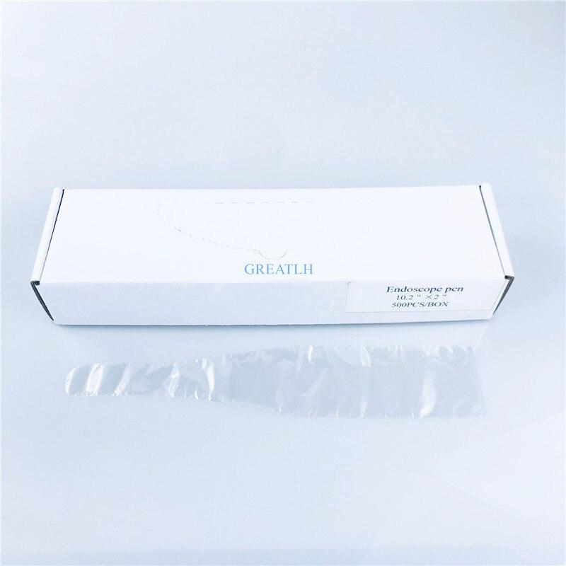 500 unids/caja Dental Material desechable Poly Plastic Cámara oral mangas película protectora/cubierta para endoscopio