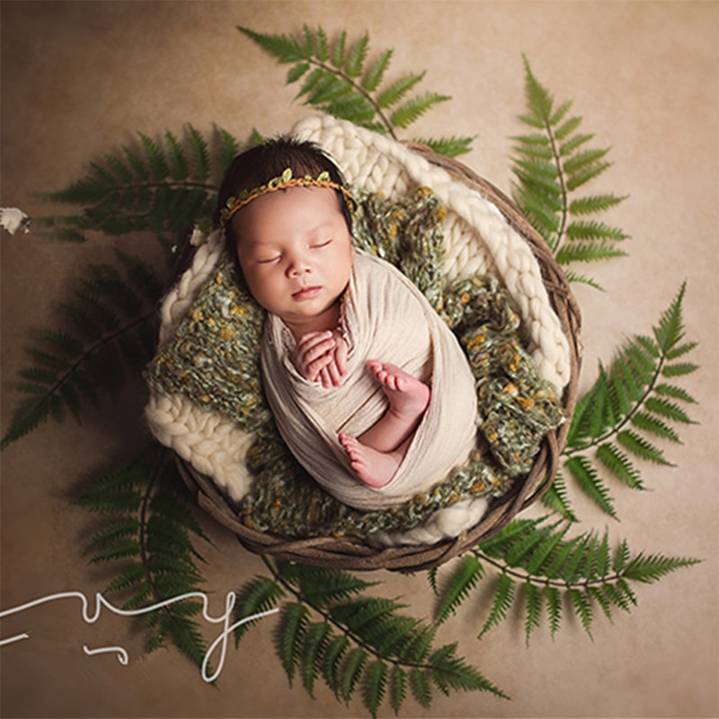 Baby Photography Props Manual Weave Rattan Basket Infant Photo Studio Child Shooting Newborn Fotografie Wooden Container enlarge