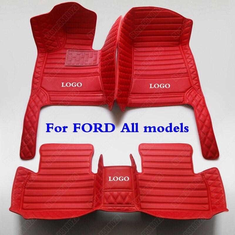 Alfombrillas personalizadas 3D para coche Ford Ranger Raptor Everest Edge Kuga c-max Fiesta Mustang s-max Explorer Tourneo F-150 Mondeo Focus