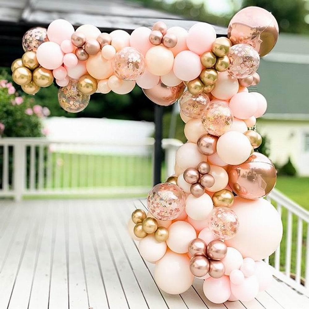 96pcs Macaron Orange Balloon Garland Arch Kit Chrome Rose Gold Ballon with 4D Globos Wedding Birthday Party Decor Baby Shower
