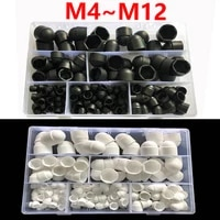 black and white dome protective cover exposed protective cap plastic hexagonal nut assortment kit dustproof cover m4 m5 m6m12