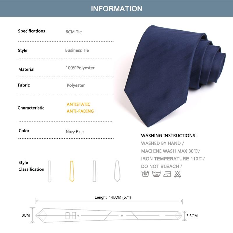Men's 8CM Wide Tie High Quality Classical Blue Striped Ties For Men Business Suit Work Necktie Male Fashion Formal Neck Tie