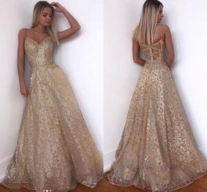 2020 Gold Dress Long Sparkle New V-Neck Women Elegant Straps Sequin A-line Maxi Evening Party Gown Dress abendkleider
