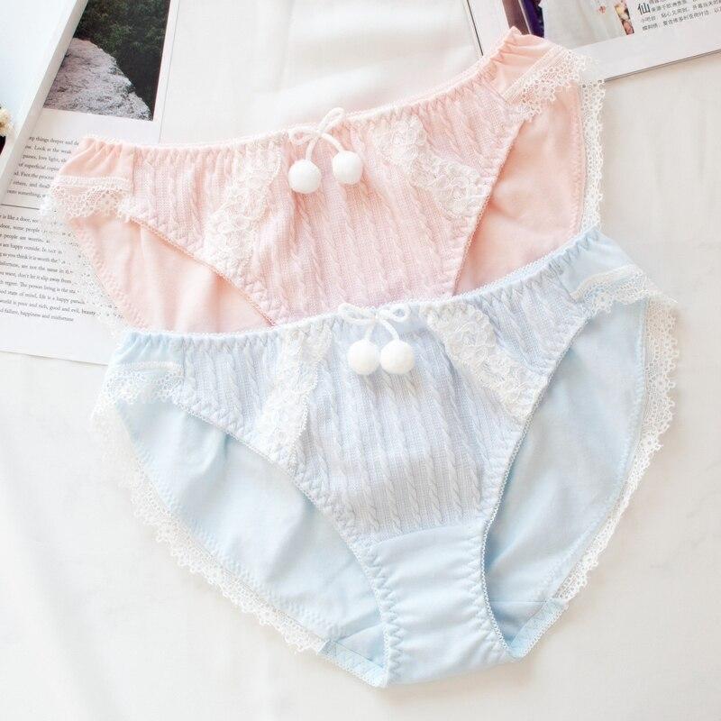 Bragas dulces de mujer Lolita japonesa Macaron Color lindo Bowknot ropa interior de ajuste de encaje fresco transpirable chicas adolescentes Kawaii calzoncillos