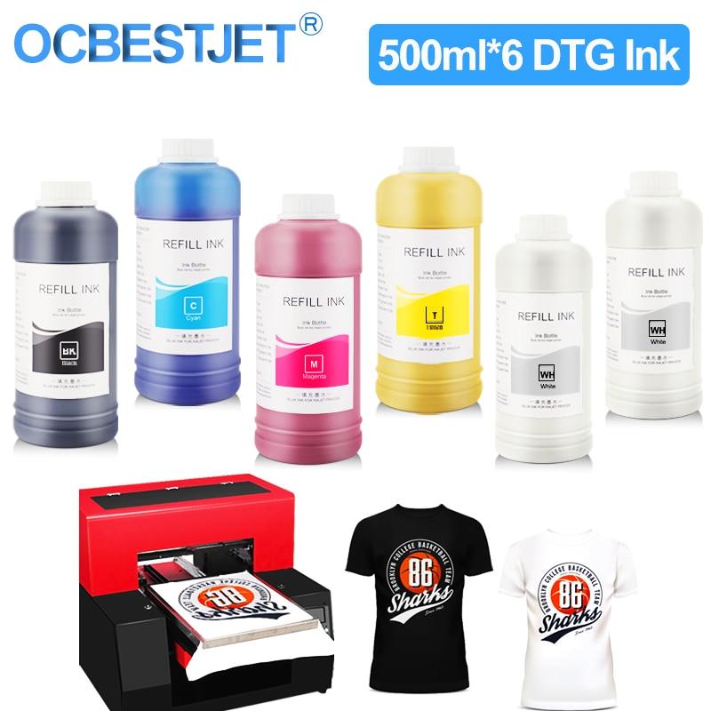 500 مللي * 6 DTG الحبر النسيج الحبر لإبسون 1390 1400 1430 R1900 R2000 R3000 ل DX5 DX6 DX7 DX10 رأس الطباعة DTG طابعة الملابس الحبر