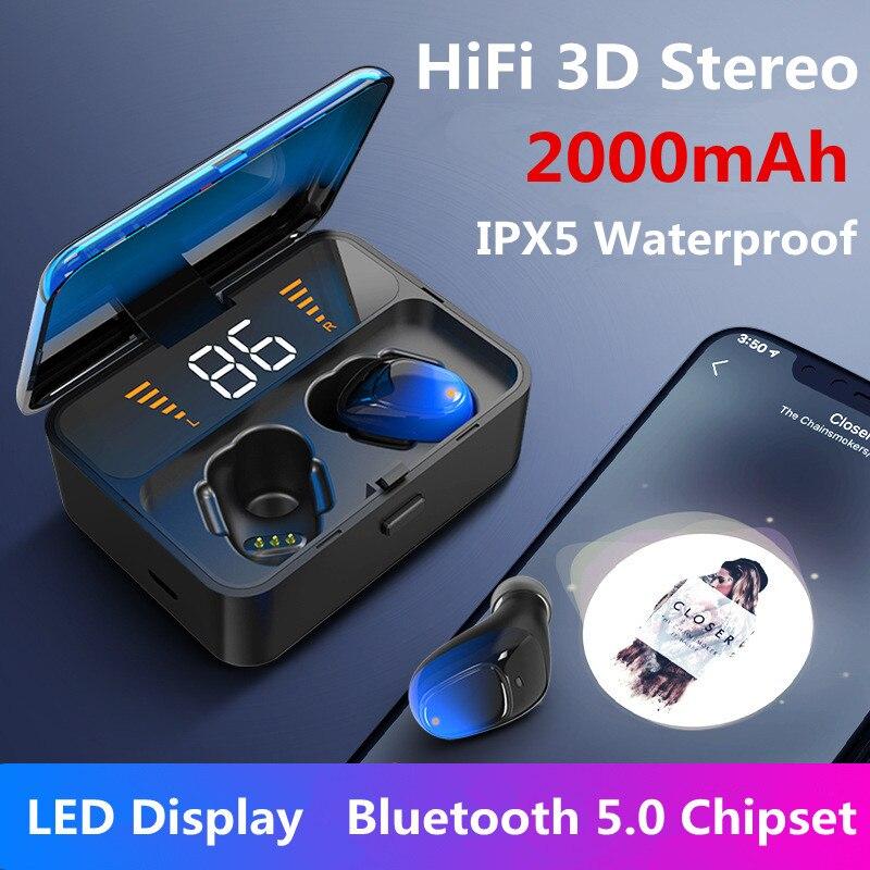 Auriculares Bluetooth 5,0 VIKEFON TWS IPX5 impermeables 3D manos libres estéreo inalámbricos auriculares deportivos auriculares con micrófono para juegos 2000mAh