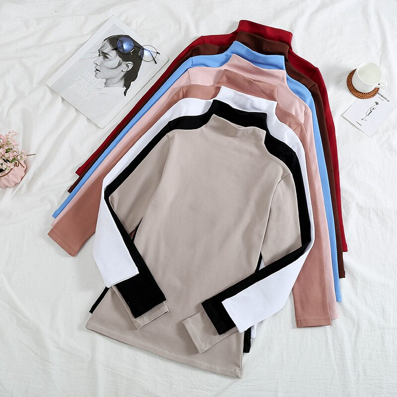 Camisa feminina 2020 tshirt outono gola alta do vintage mais veludo cor sólida manga longa camiseta ropa mujer dropshipping t054