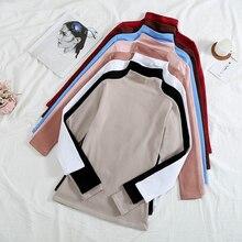 Camiseta Mujer camiseta Otoño Invierno Vintage cuello de tortuga más terciopelo Color sólido manga larga Camiseta Vestidos Mujer T054