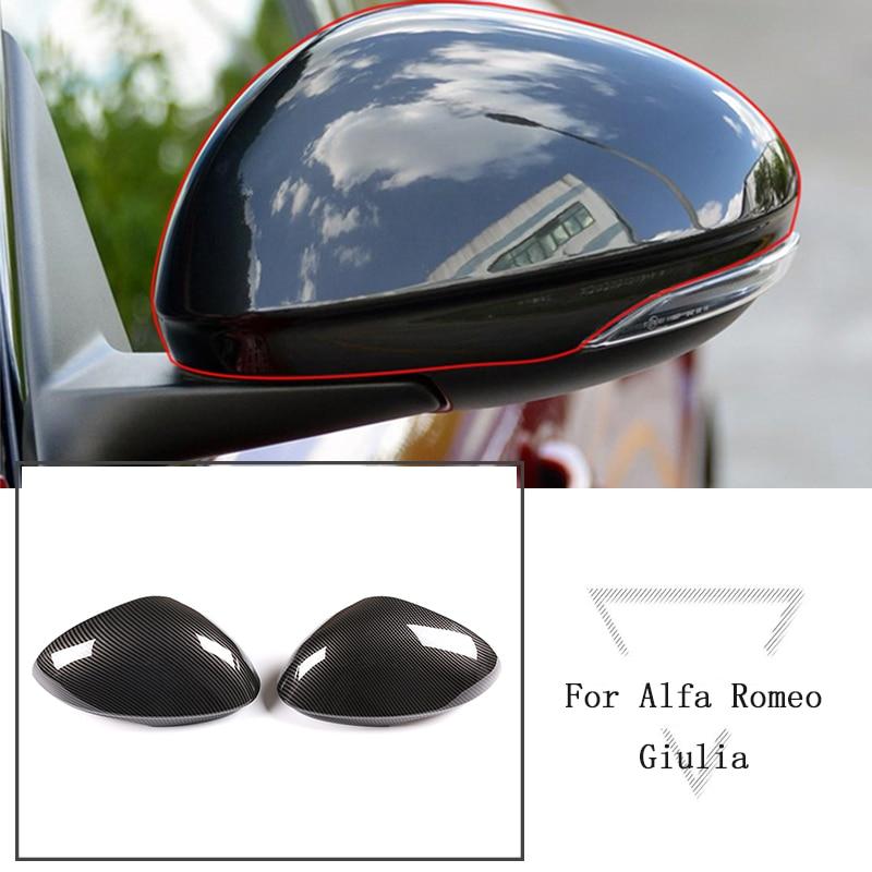Z włókna węglowego styl czarny błyszczący ABS samochód lusterko zewnętrzne dekoracyjne wykończenie pokrywy akcesoria dla Alfa Romeo Giulia 2017-2018