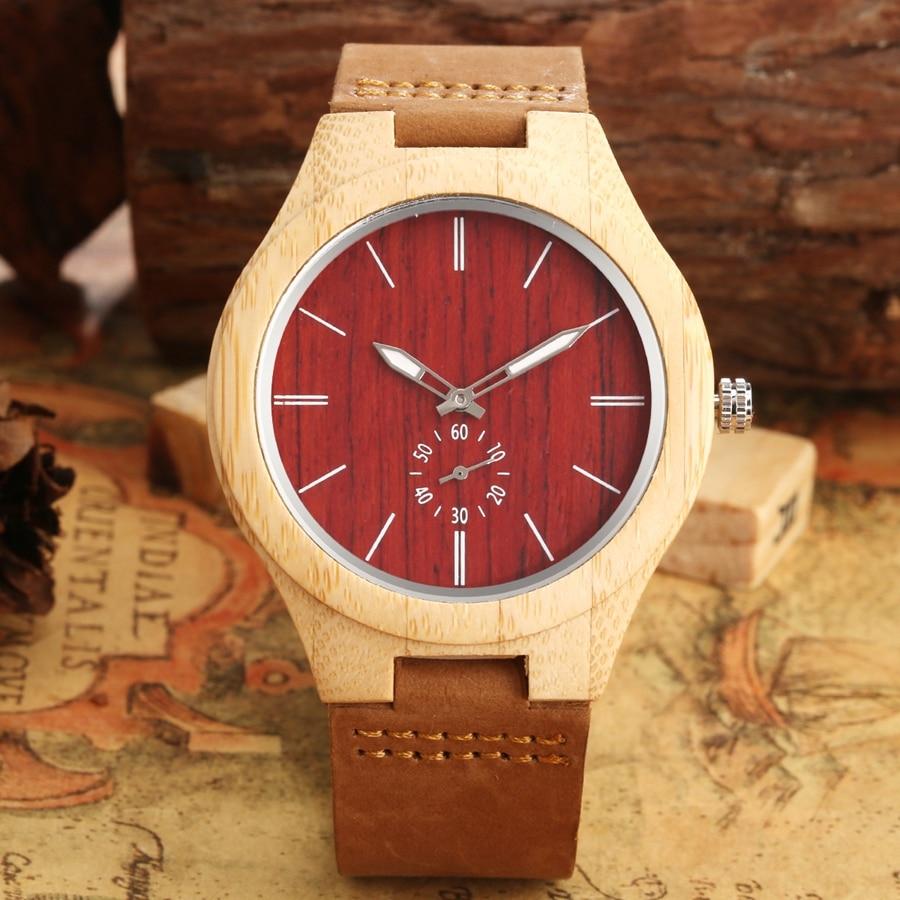 Reloj de madera único rojo segundos reloj de mano Esfera de madera cuarzo reloj Unisex cuero genuino reloj de pulsera