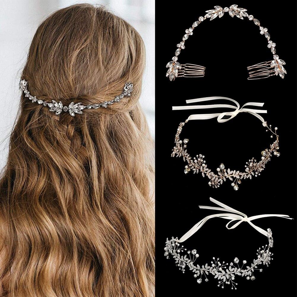 Diadema de diamante de imitación para boda, cadena nupcial, peine para novia, tocado de dama de honor, accesorios de joyas para el pelo bohemio Chic