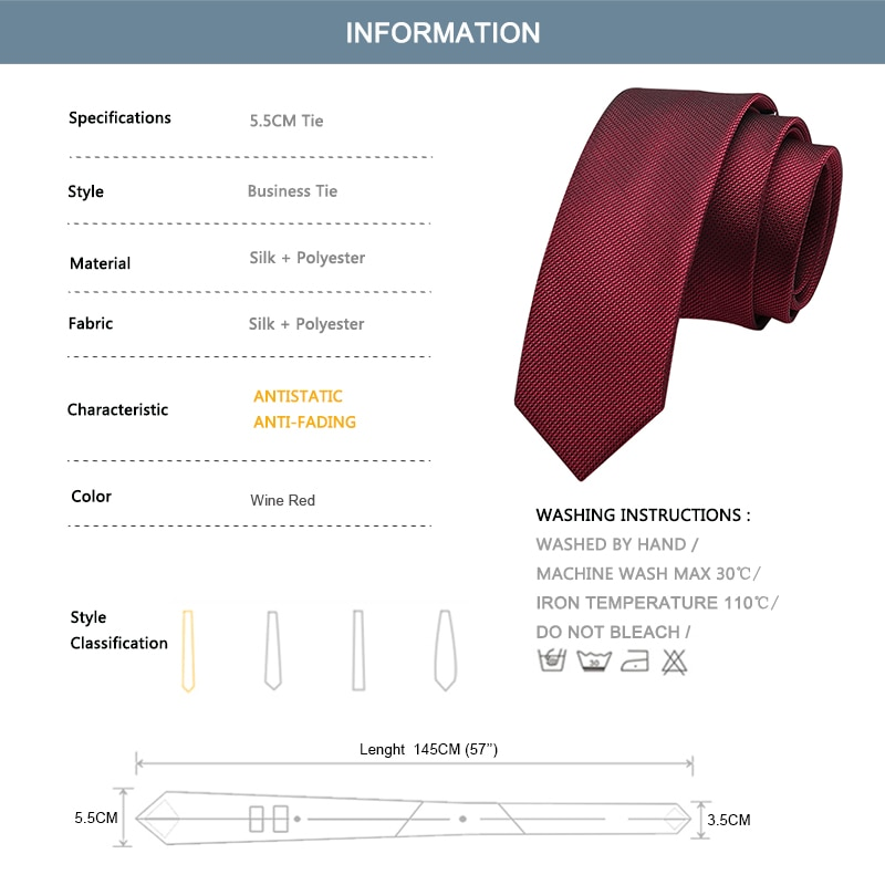 Groom Wedding Tie High Quality Men's Silk Ties Red 5.5CM Skinny Neck Tie For Men Business Suit Work Necktie Party Engagement
